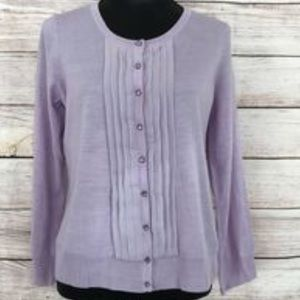 Talbots Lavender Merino Wool w/ Silk Trim Cardigan